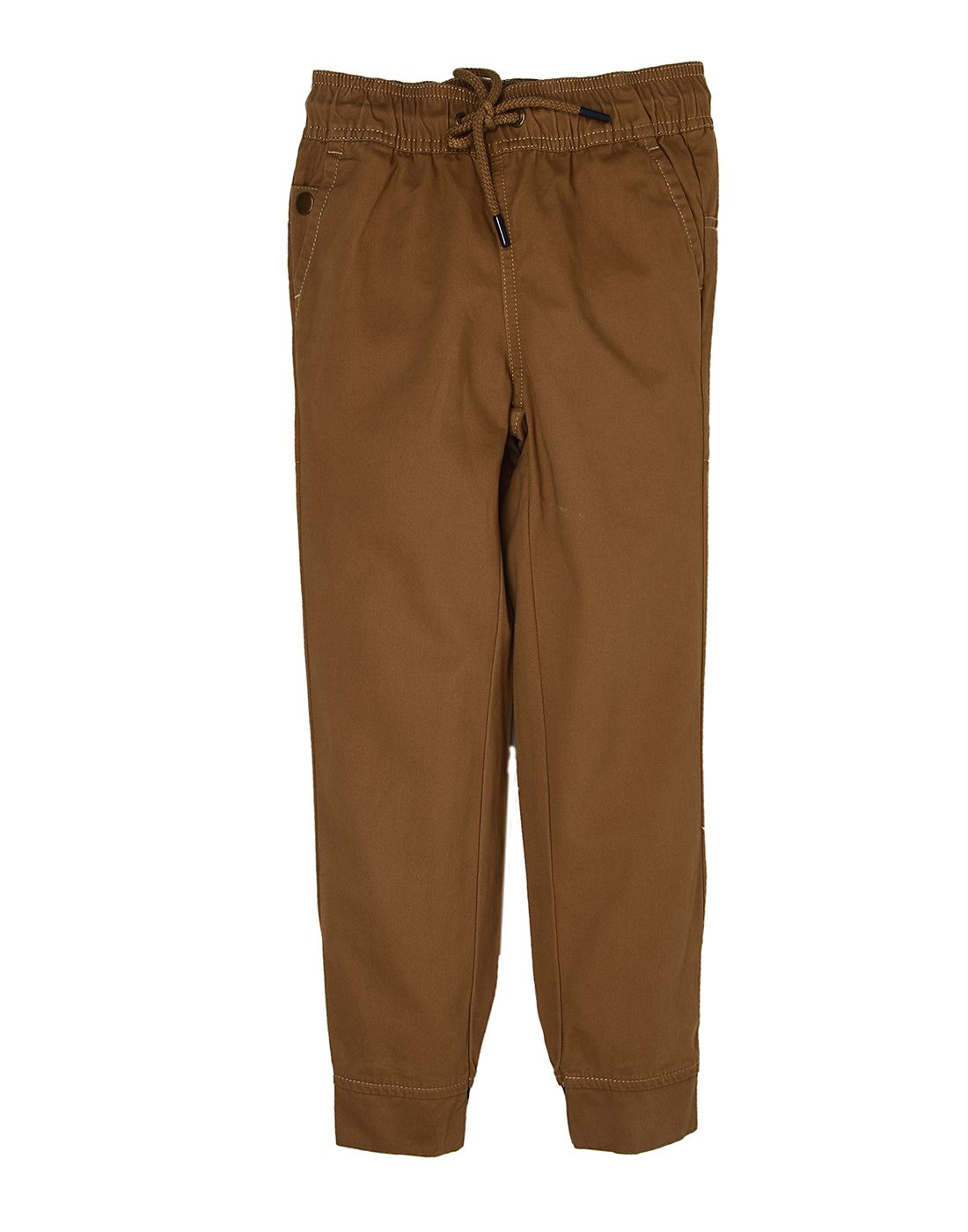 Indian Terrain Boys Brown Solid Jogger