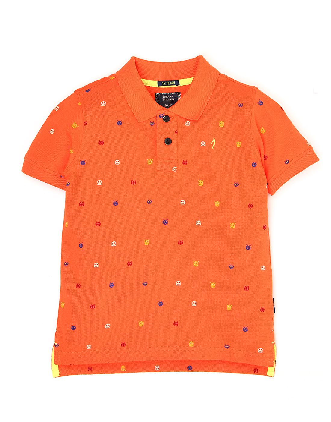 Indian Terrain Boys Orange Printed T-Shirt