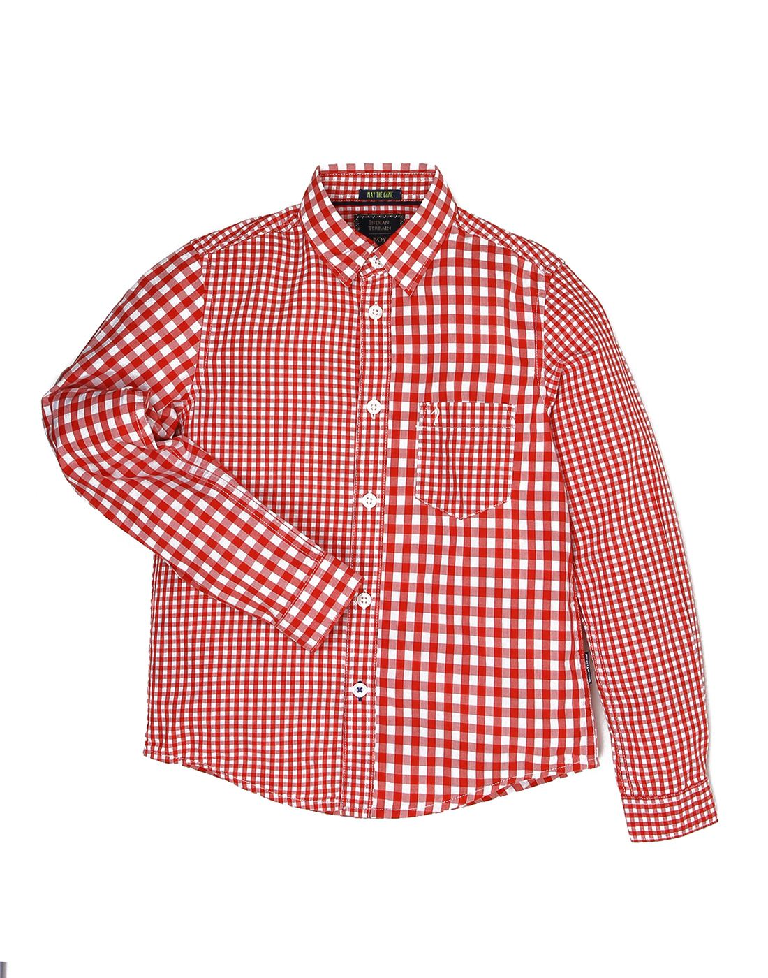 Indian Terrain Boys Red Casual Shirt