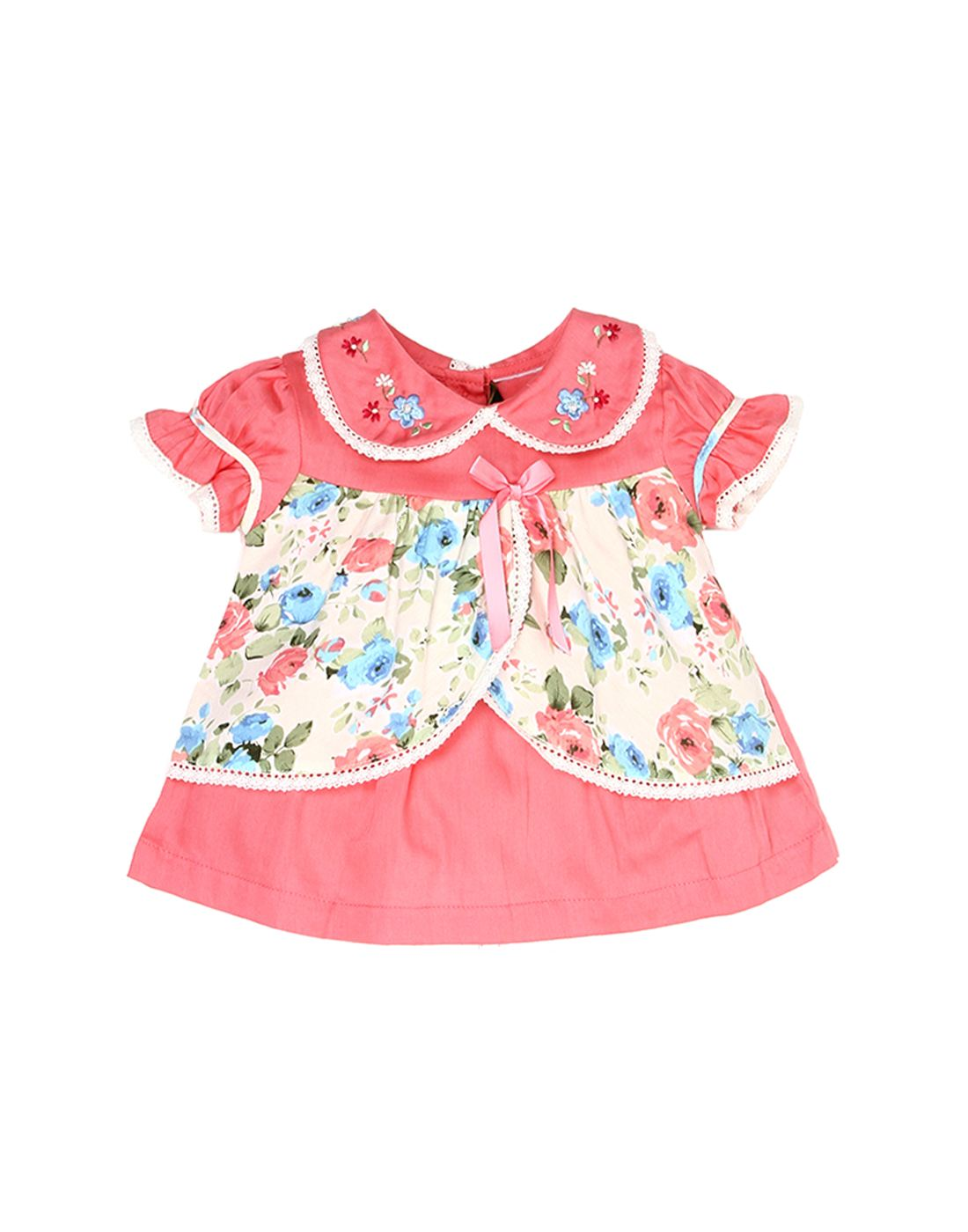 K.C.O 89 Baby Girls Casual Floral Print Half Sleeve Dress
