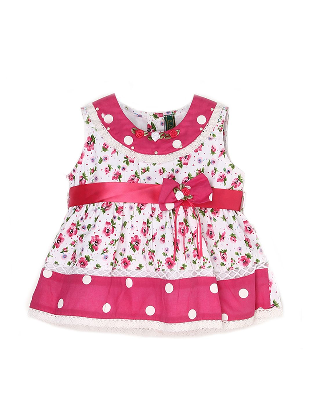 K.C.O 89 Infant Girls Casual Printed Sleeveless Frock