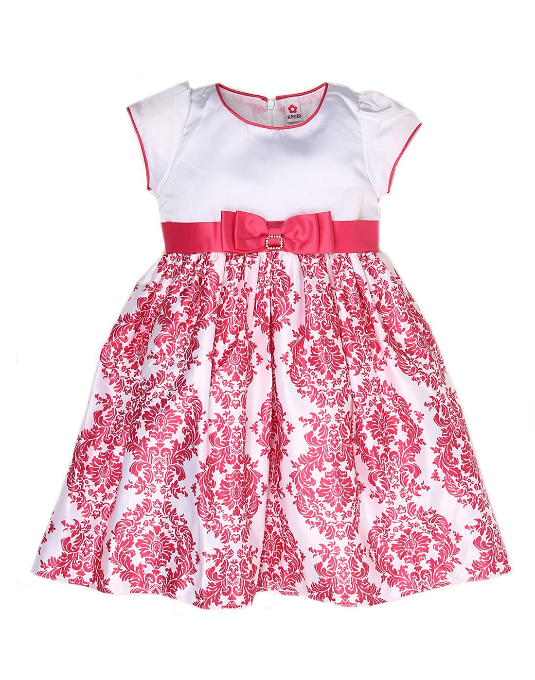 K.C.O 89 Girls Party Wear Printed Cap Sleeves Frock