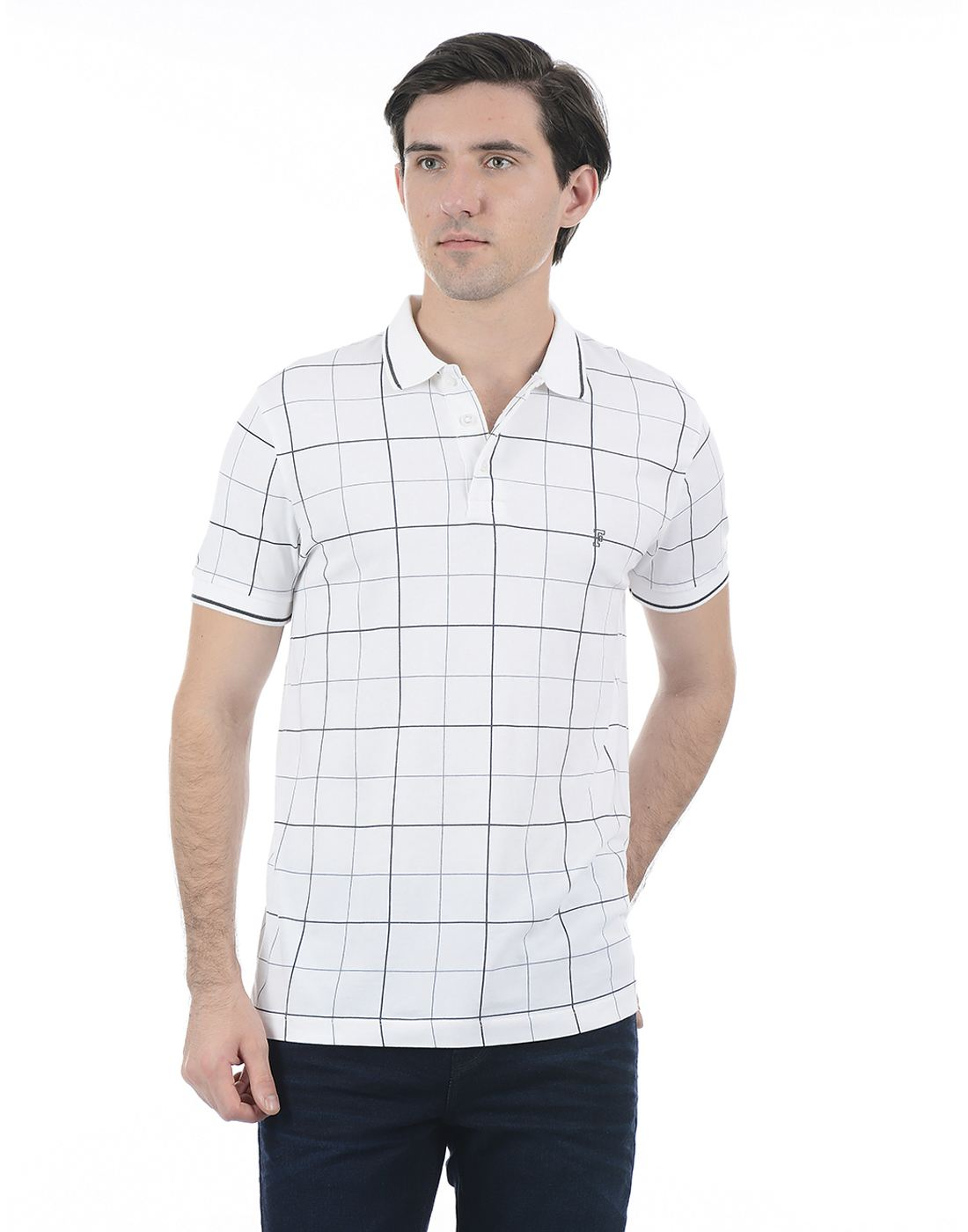 French Connection Men White Half Sleeves T-Shirt