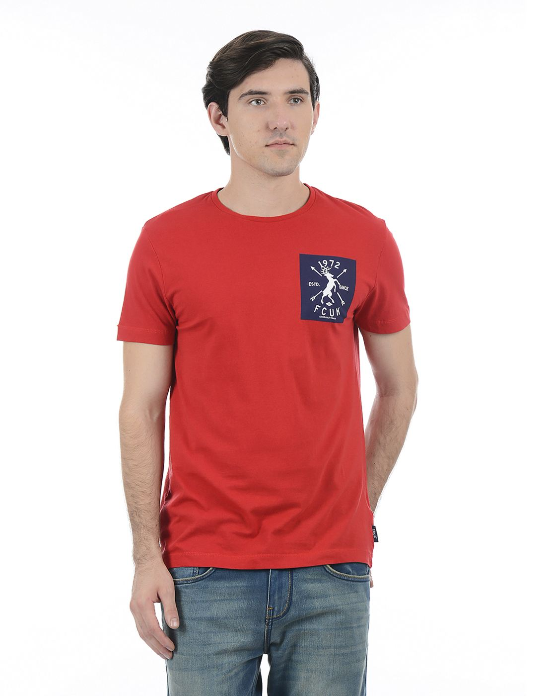 French Connection Men Red Half Sleeves T-Shirt
