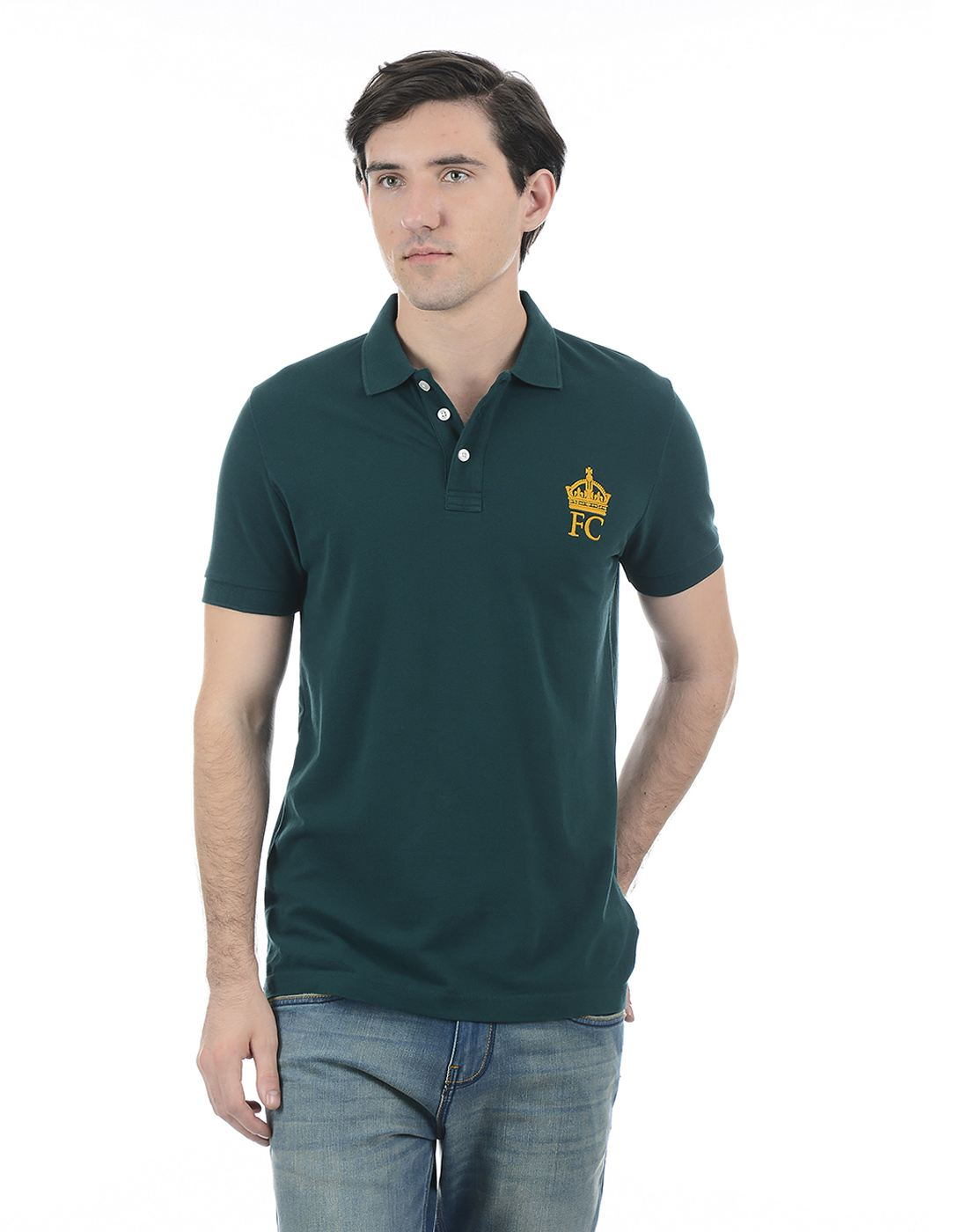 French Connection Men Green Half Sleeves T-Shirt
