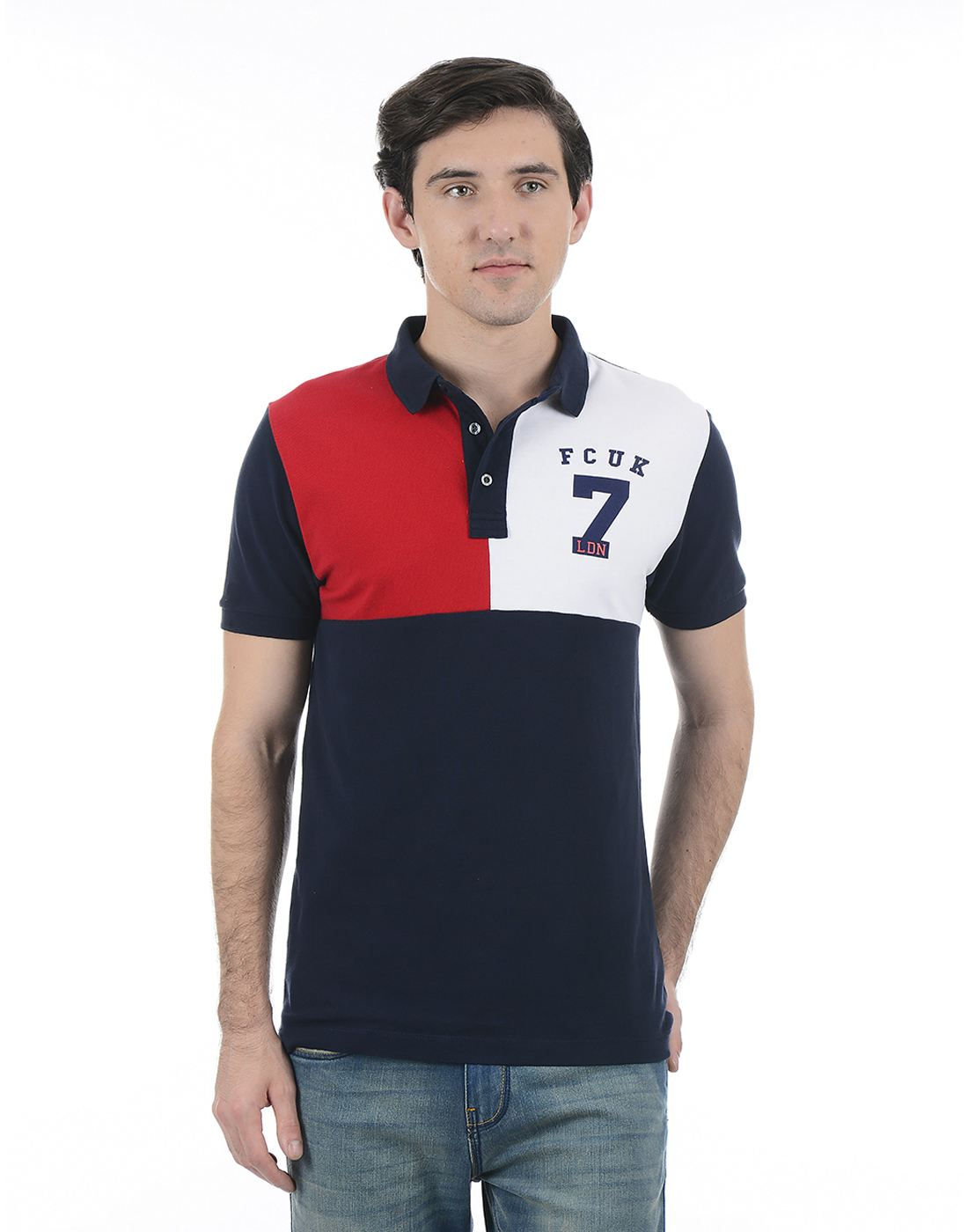 French Connection Men Blue Half Sleeves T-Shirt