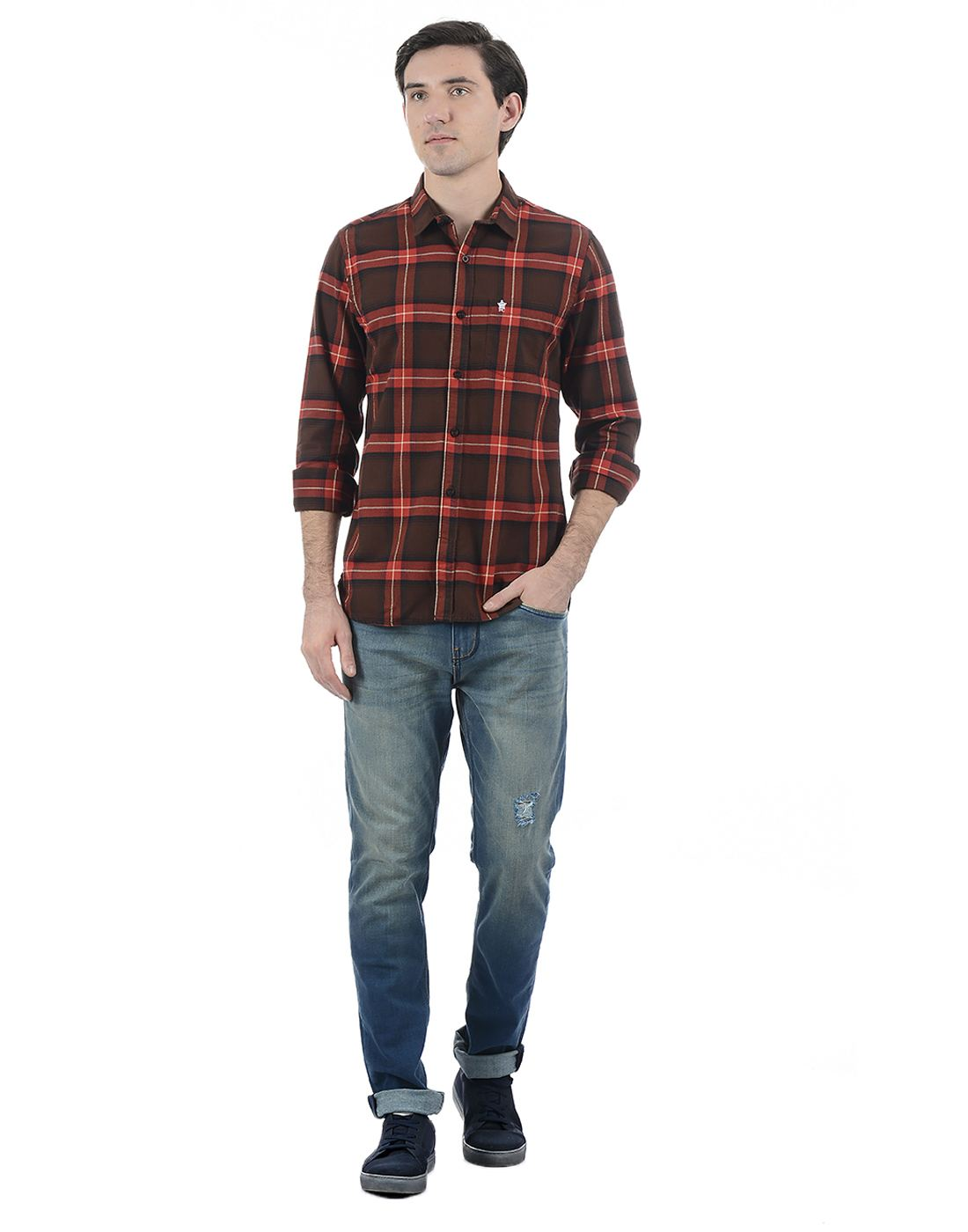 French Connection Men Brown Full Sleeves Shirt