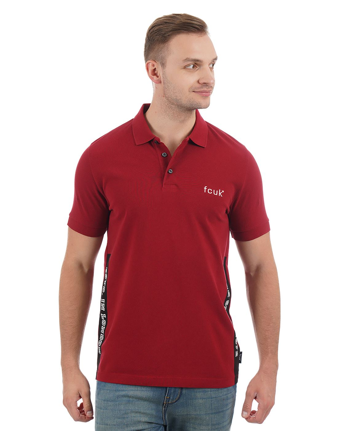 French Connection Solid Casual Wear Men Polo T-Shirt