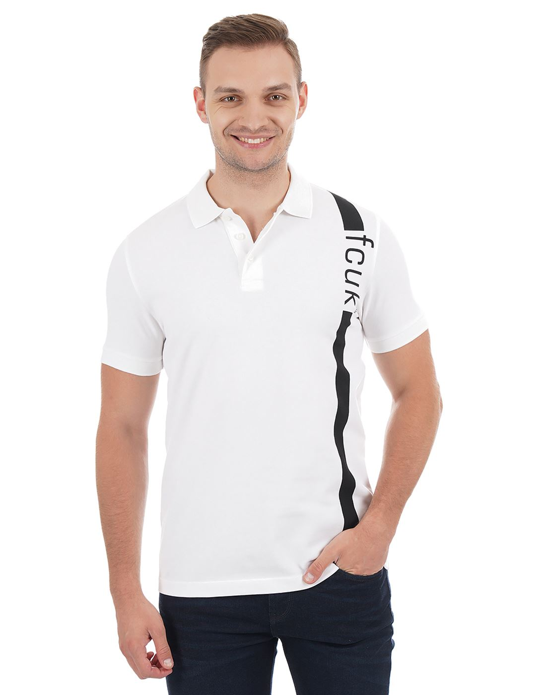 French Connection Men Casual Wear Printed Polo T-Shirt