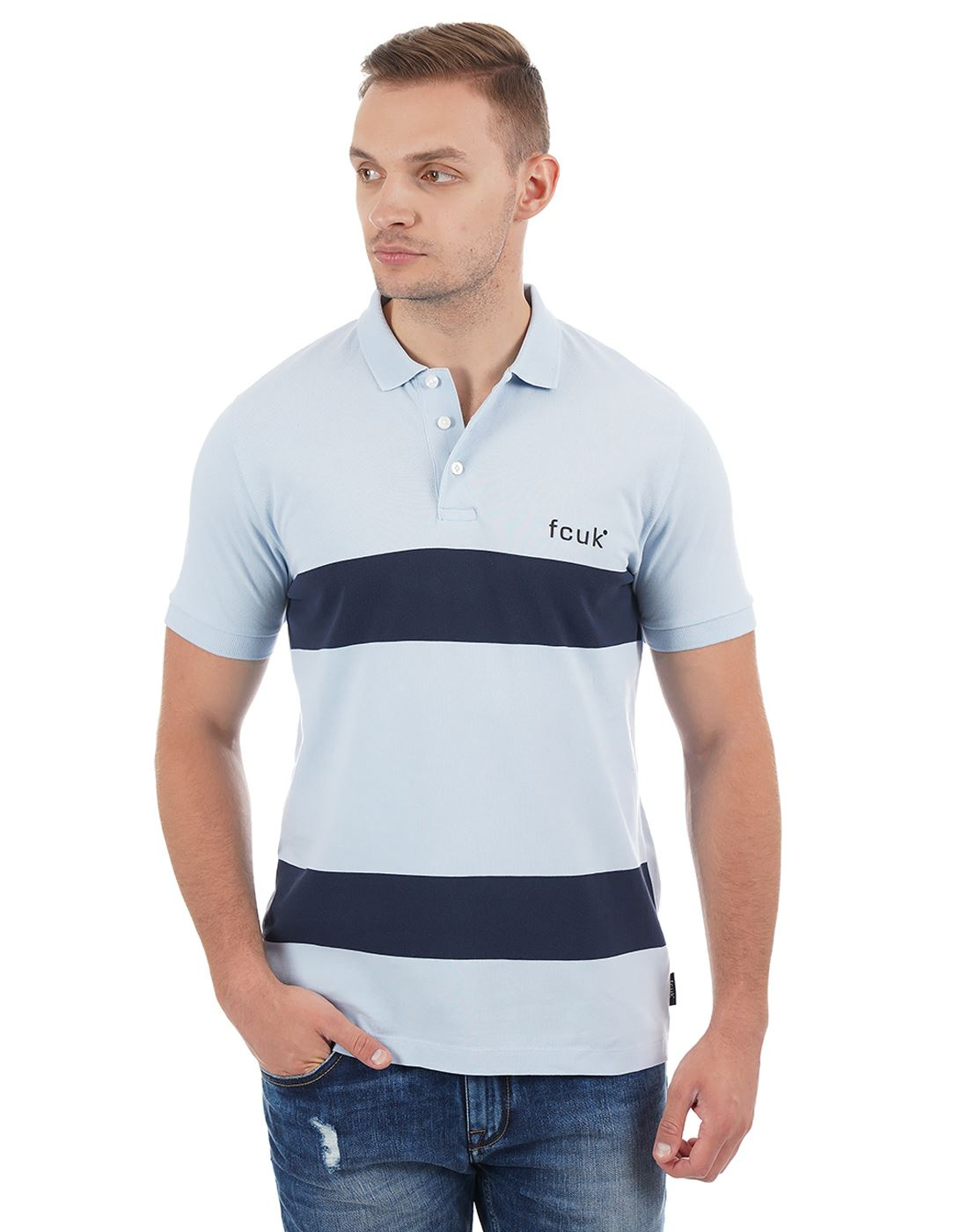 French Connection Striped Casual Wear Men Polo T-Shirt