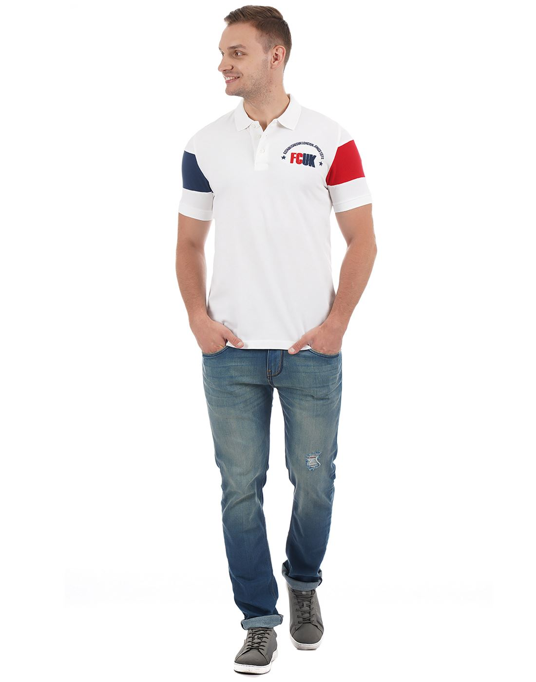 French Connection Men Casual Wear Embroidered Polo T-Shirt