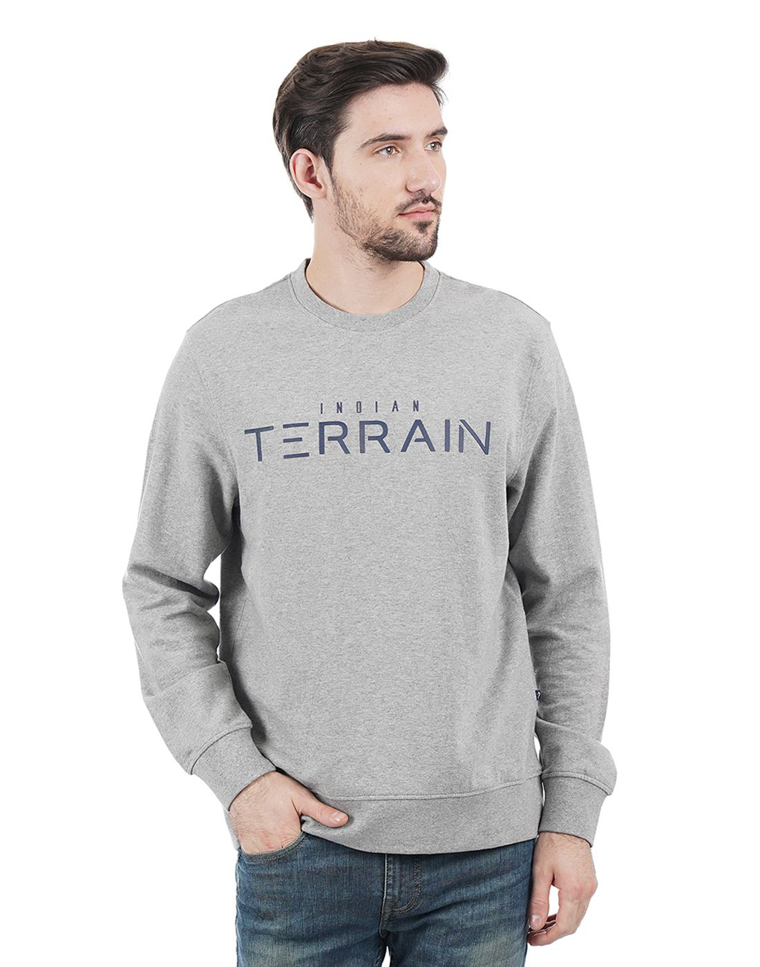 Indian Terrain Men Grey Sweatshirt