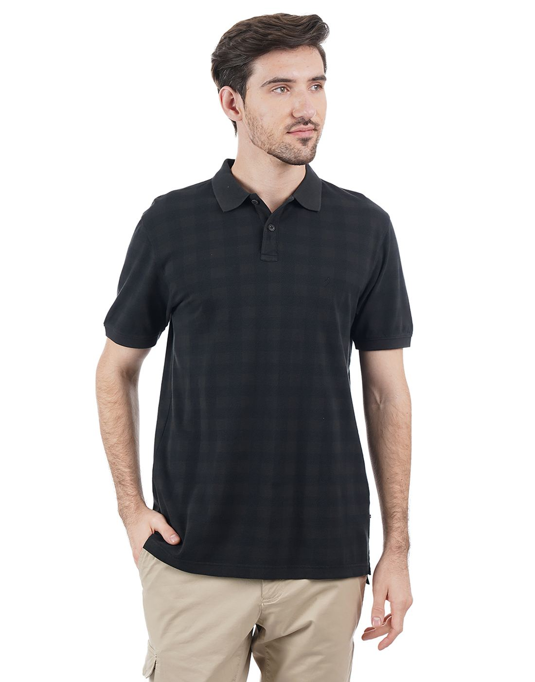 Indian Terrain Men Checkered Casual Wear T-Shirt
