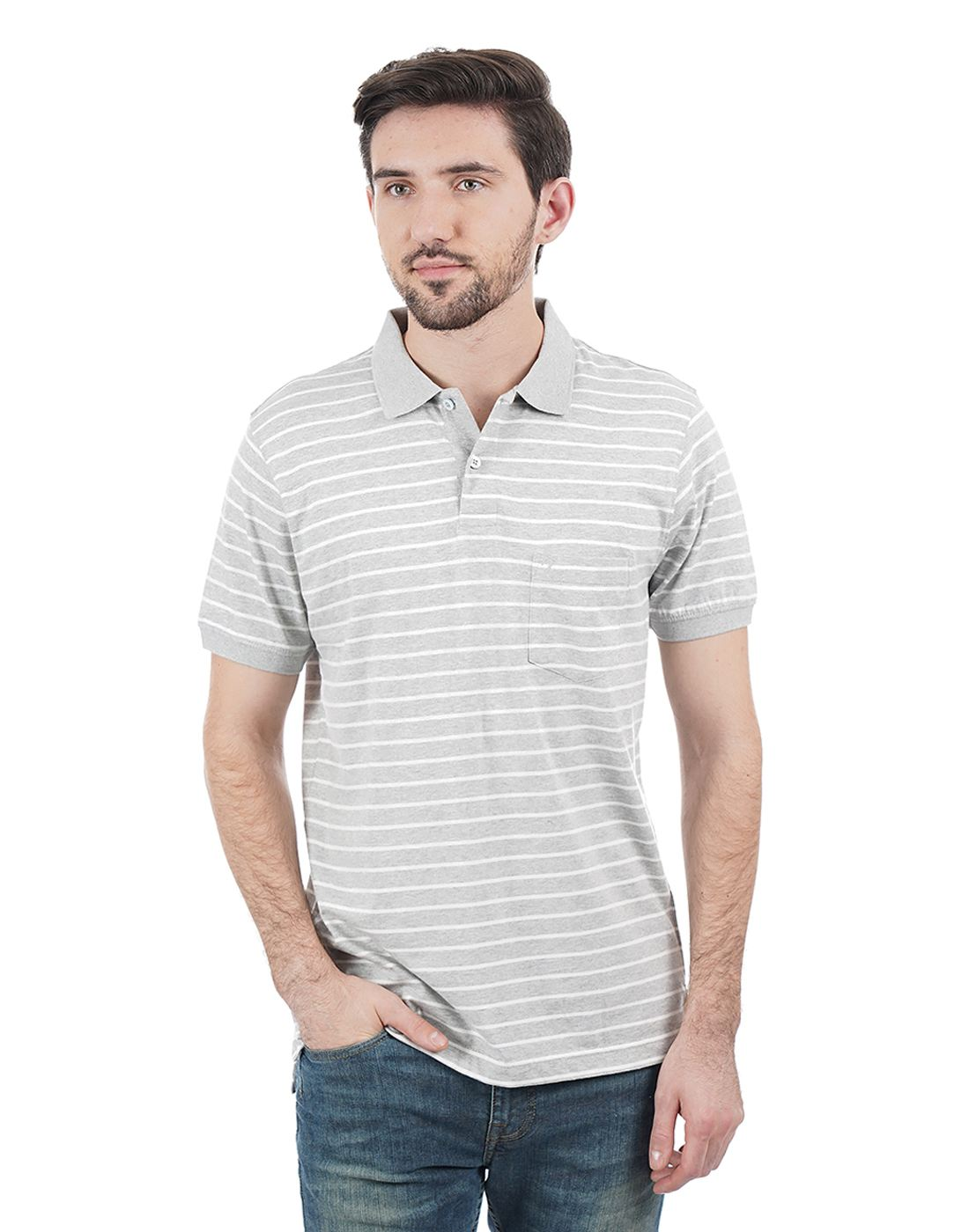 Indian Terrain Men Striped Casual Wear T-Shirt