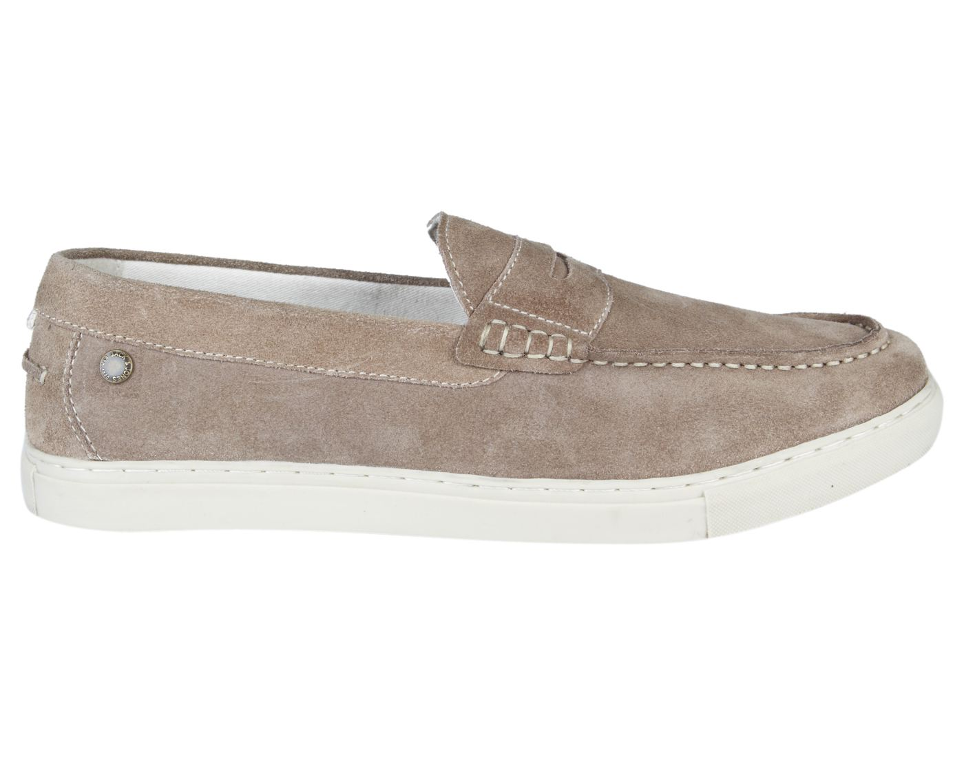 Jack & Jones Taupe Gray Leather (TPR Sole) Slip-On Sneakers