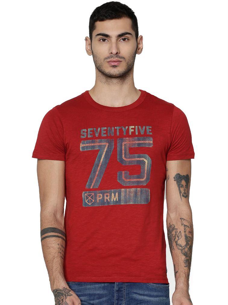 Jack & Jones Men Casual Red T-shirt