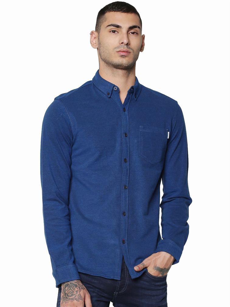 Jack & Jones Men Casual Blue Shirt