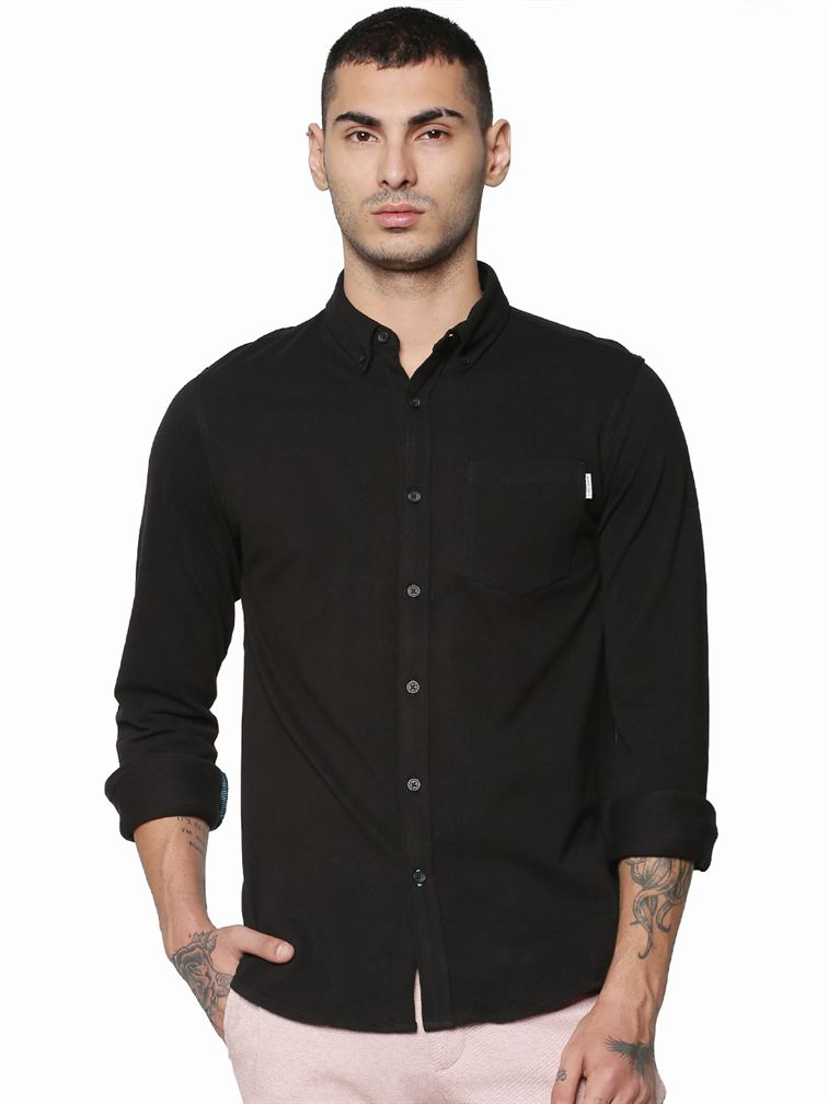 Jack & Jones Men Casual Black Shirt