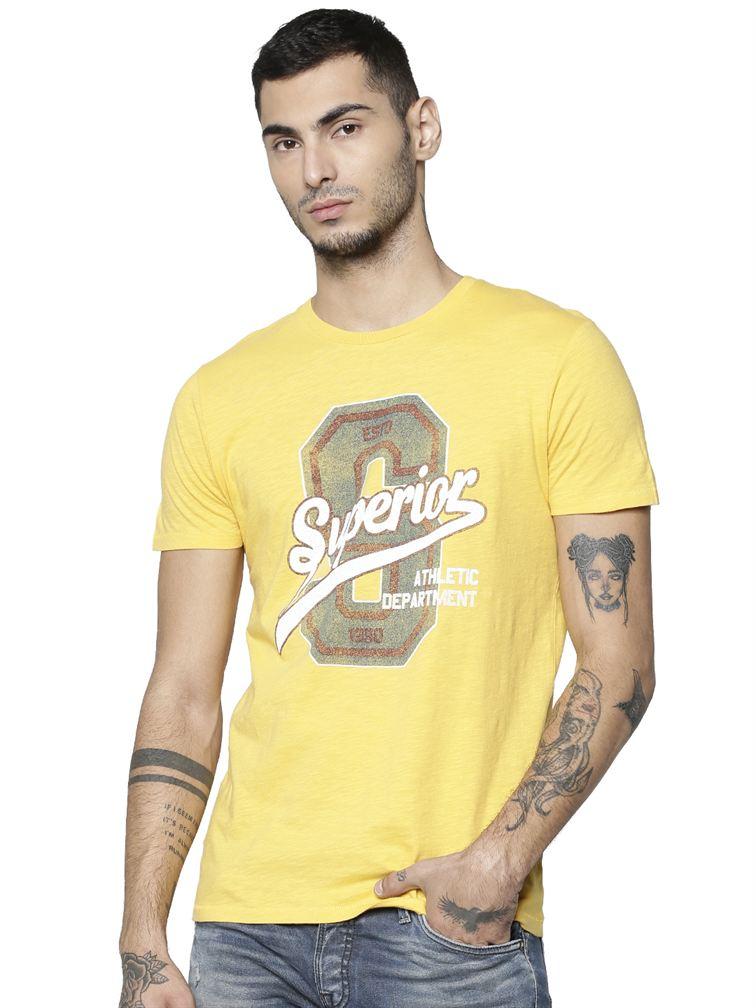 Jack & Jones Men Casual Yellow T-shirt