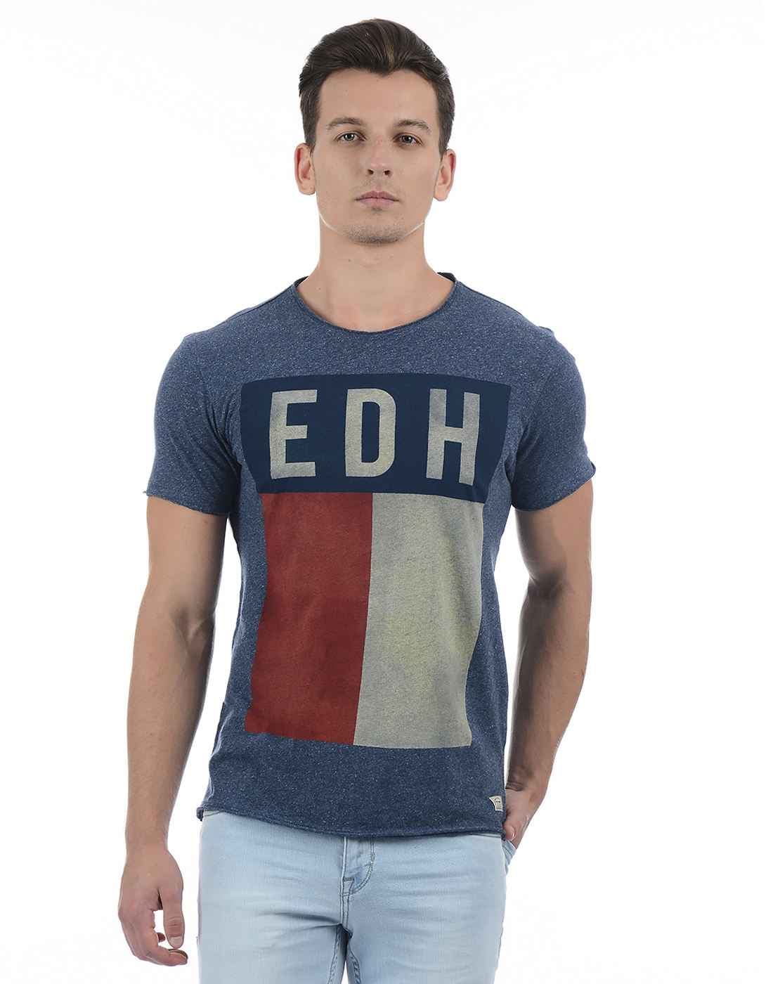 Ed Hardy Men's Blue Printed Round Neck T-shirt