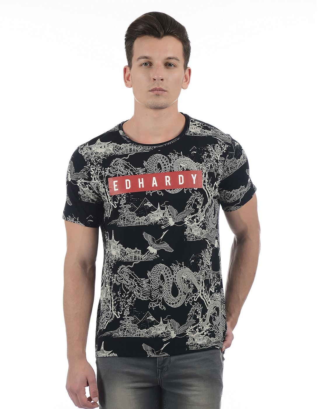 Ed Hardy Men's Black Printed Round Neck T-shirt