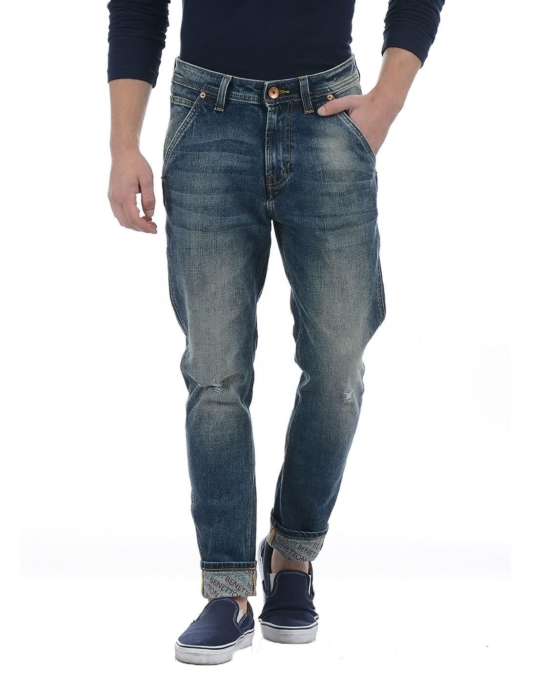 United Colors of Benetton Men's Blue Mild Distress Jeans