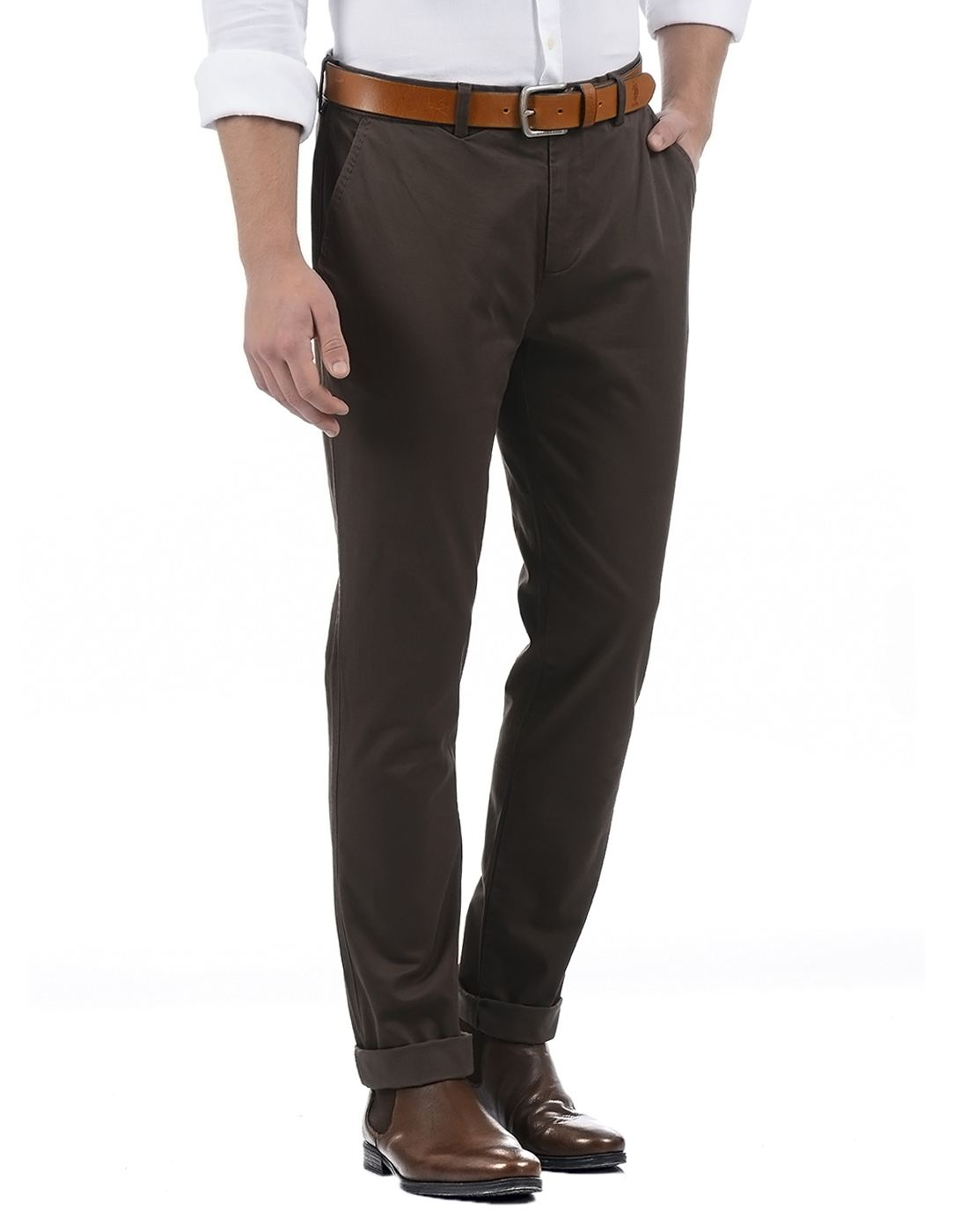 United Colors of Benetton Men's Brown Casual Trousers