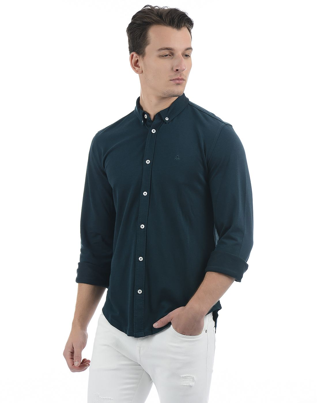 United Colors of Benetton Men's Green Solid Shirt