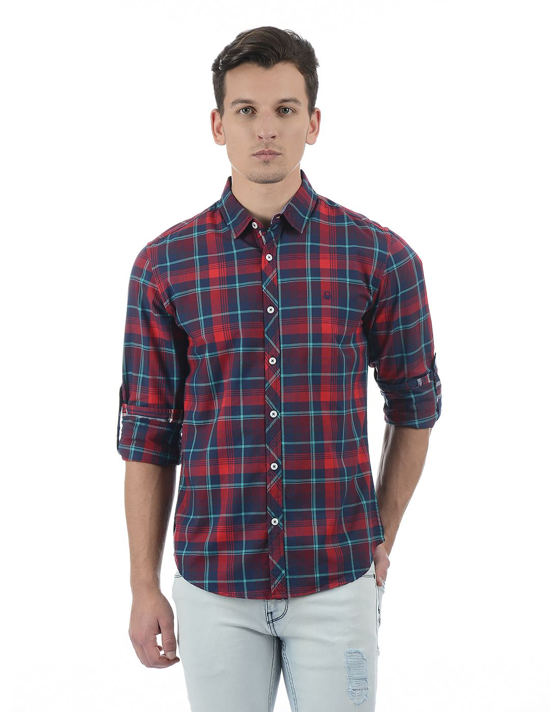 United Colors of Benetton Men's Multicolor Checkered Shirt