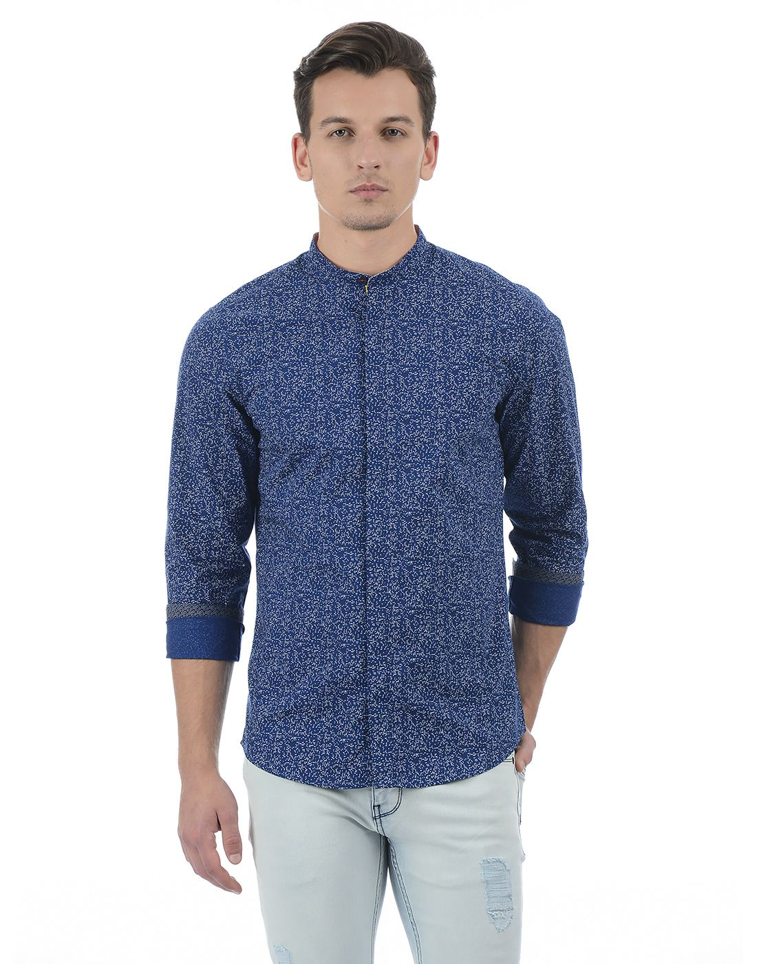 United Colors of Benetton Men's Blue Printed Shirt