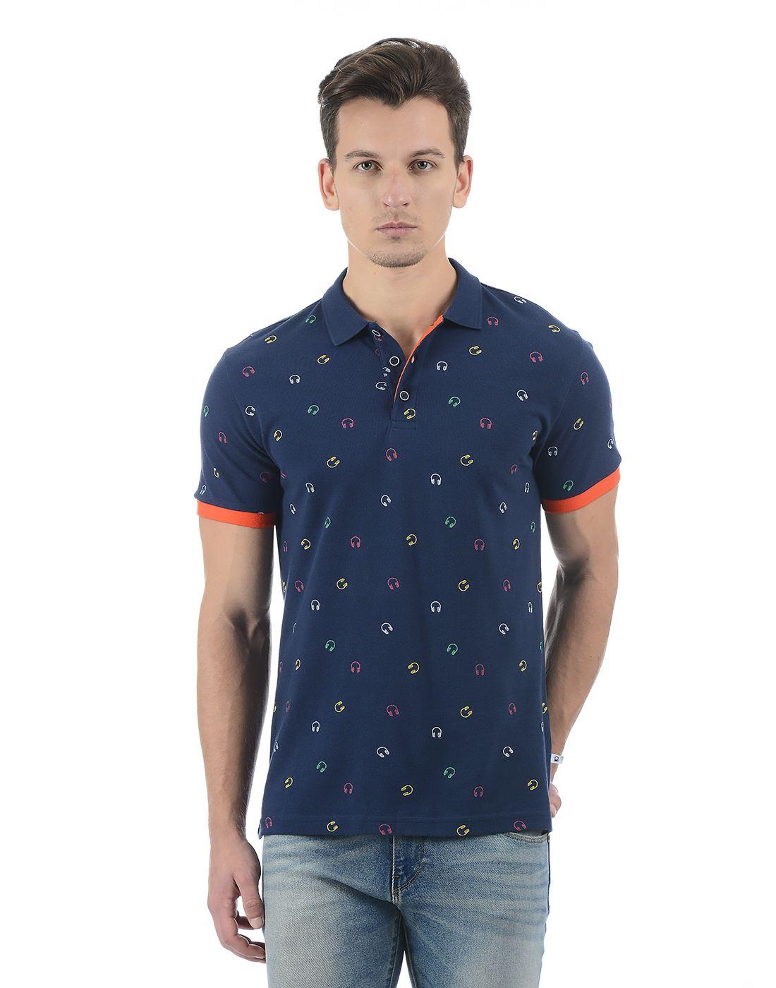 United Colors of Benetton Men's Blue Polo Neck T-shirt