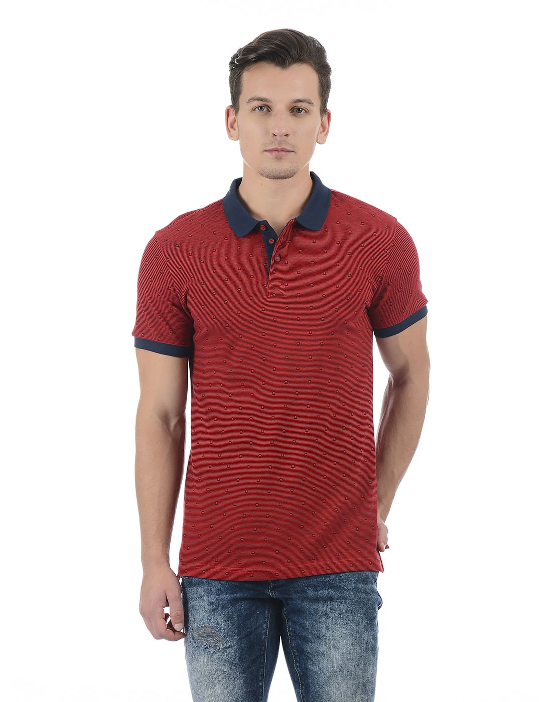 United Colors of Benetton Men's Red Polo Neck T-shirt