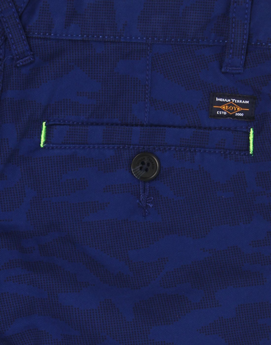 Indian Terrain Boys Blue Self Shorts