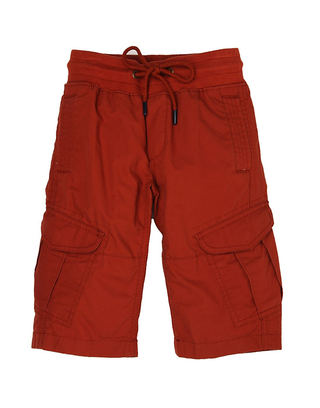 Indian Terrain Boys Red Solid Shorts