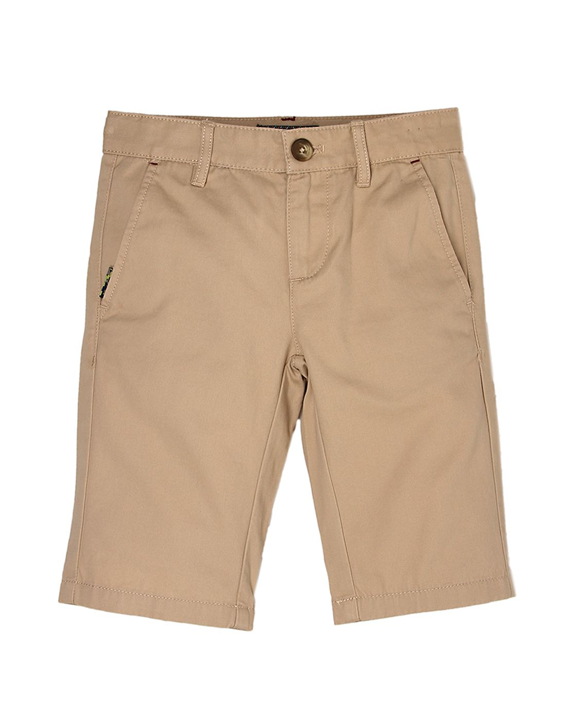 Indian Terrain Boys Beige Solid Shorts