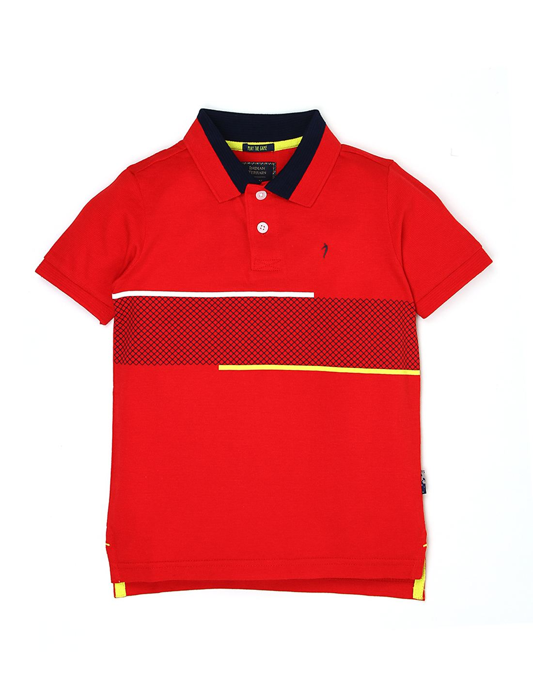 Indian Terrain Boys Red Self T-Shirt