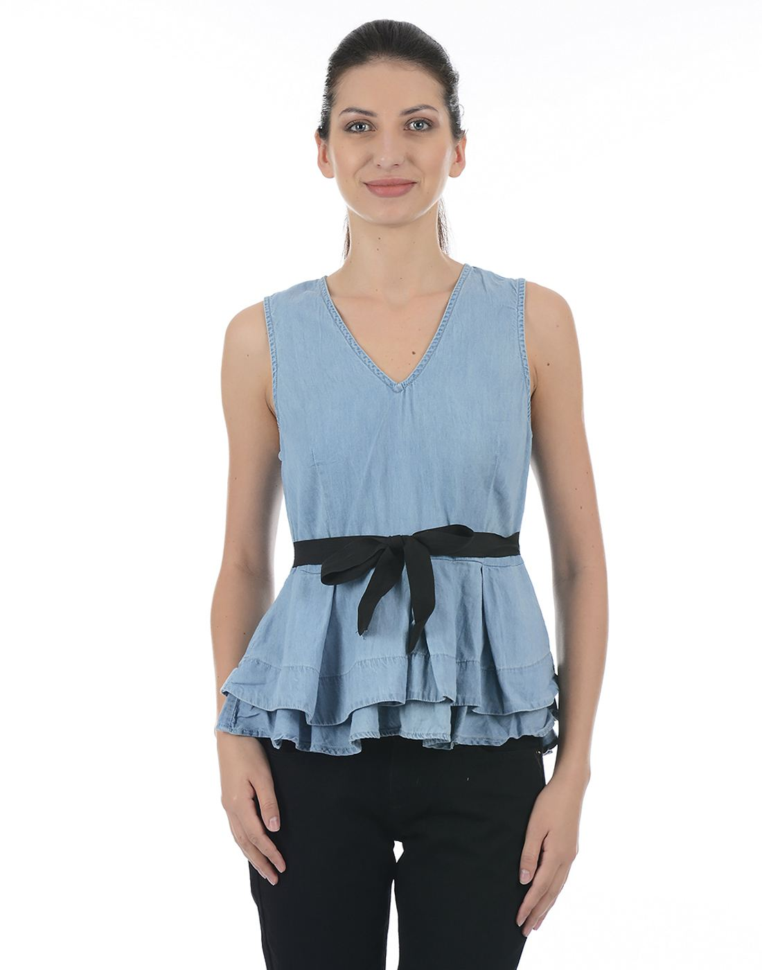 Only Women Casual Blue Top