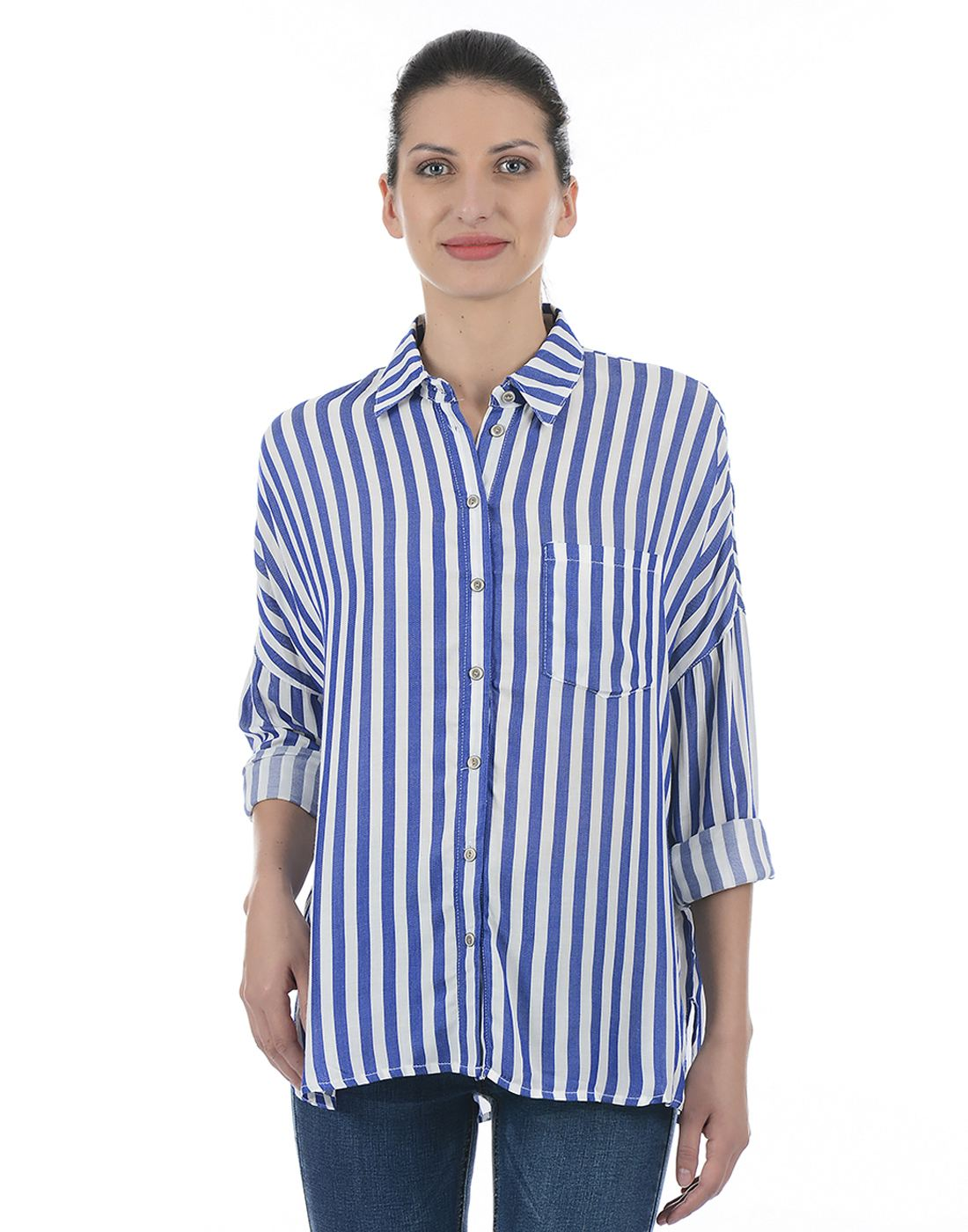 Only Women Casual Blue Shirt