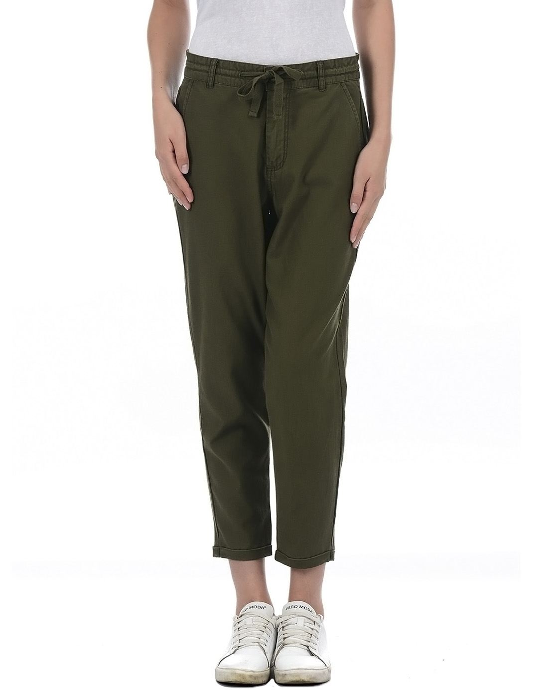 Only Women Casual Green Trouser