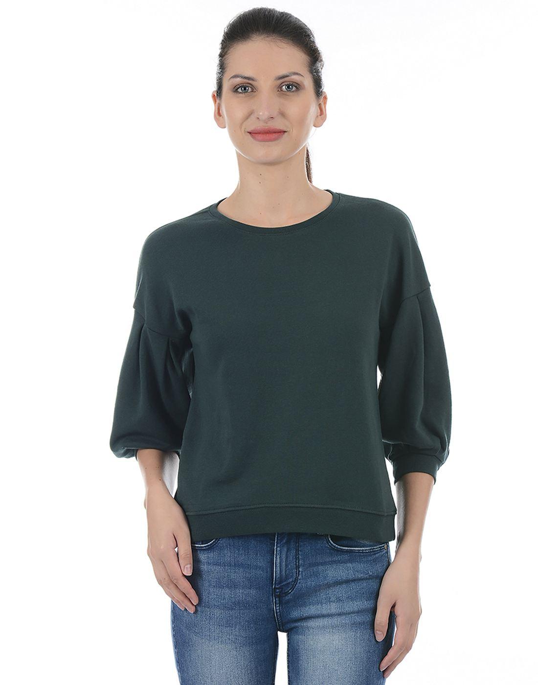 Only Women Casual Green Sweat Shirt