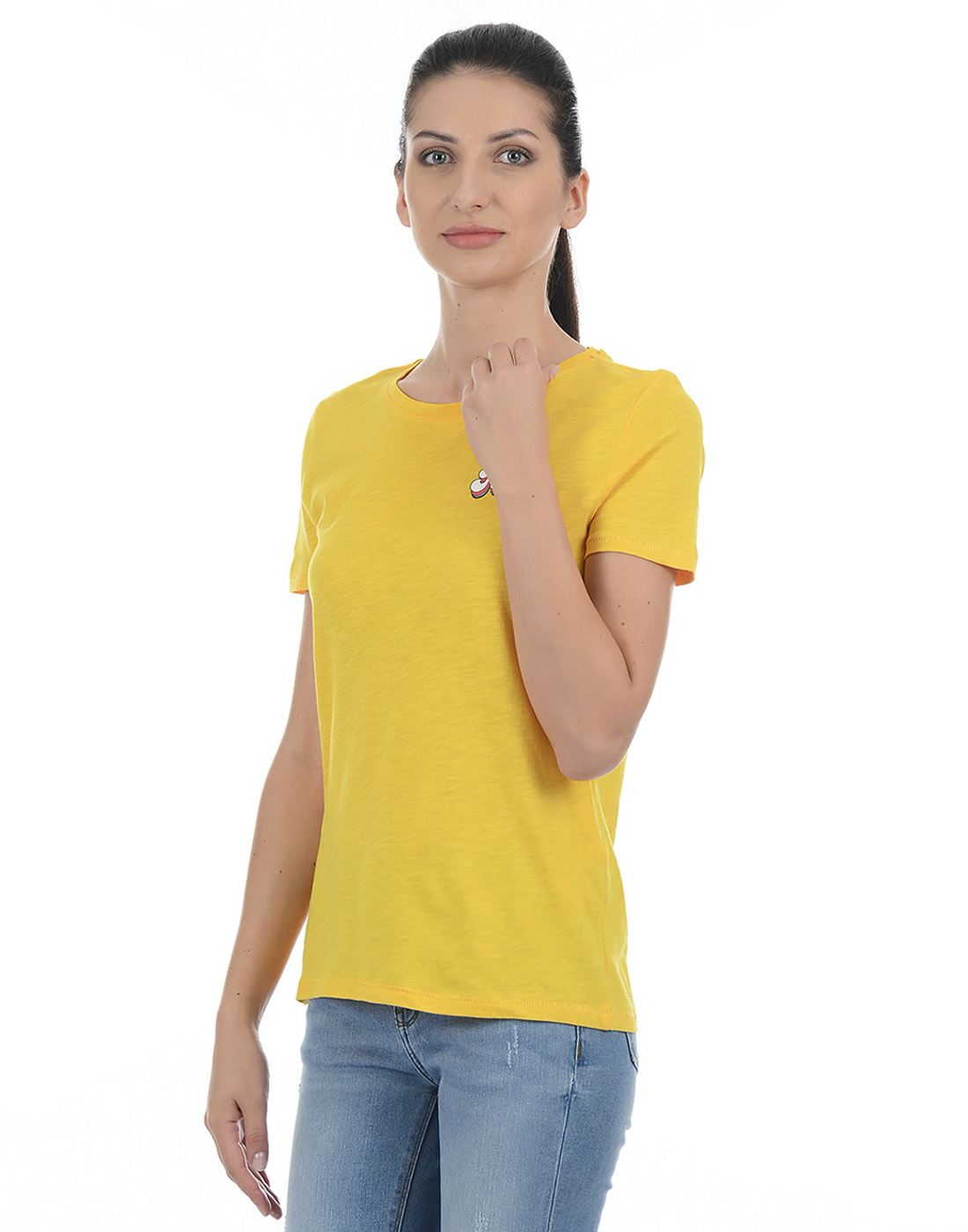 Only Women Casual Yellow T-Shirt