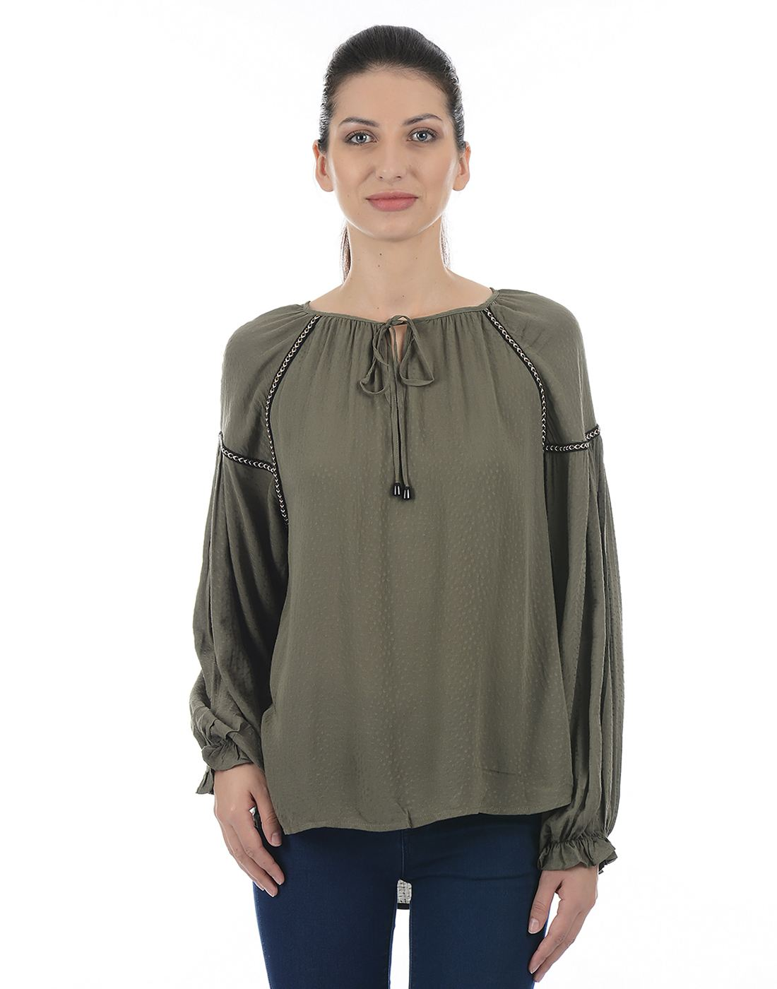 Only Women Casual Green Shirt