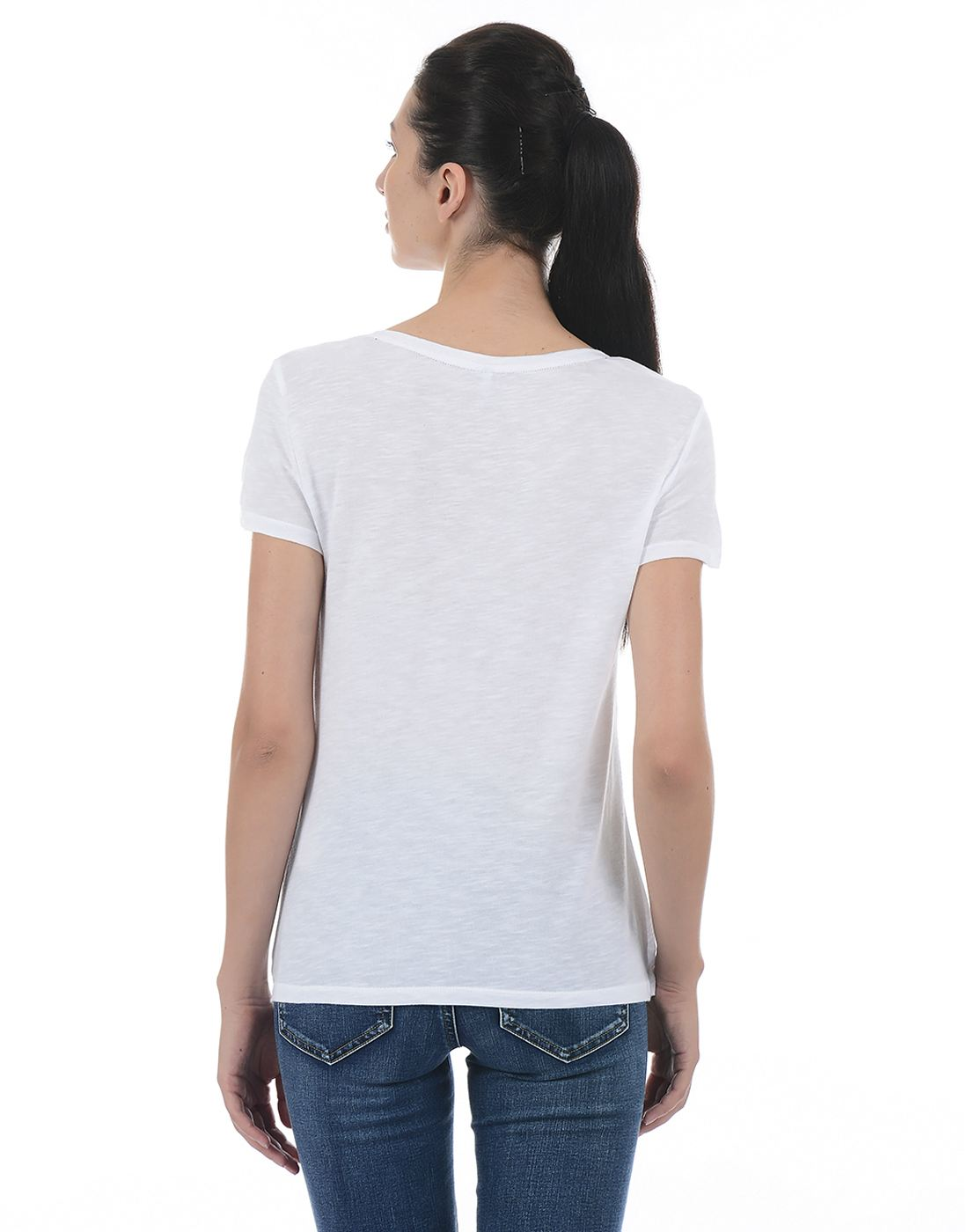 Only Women Casual White T-Shirt