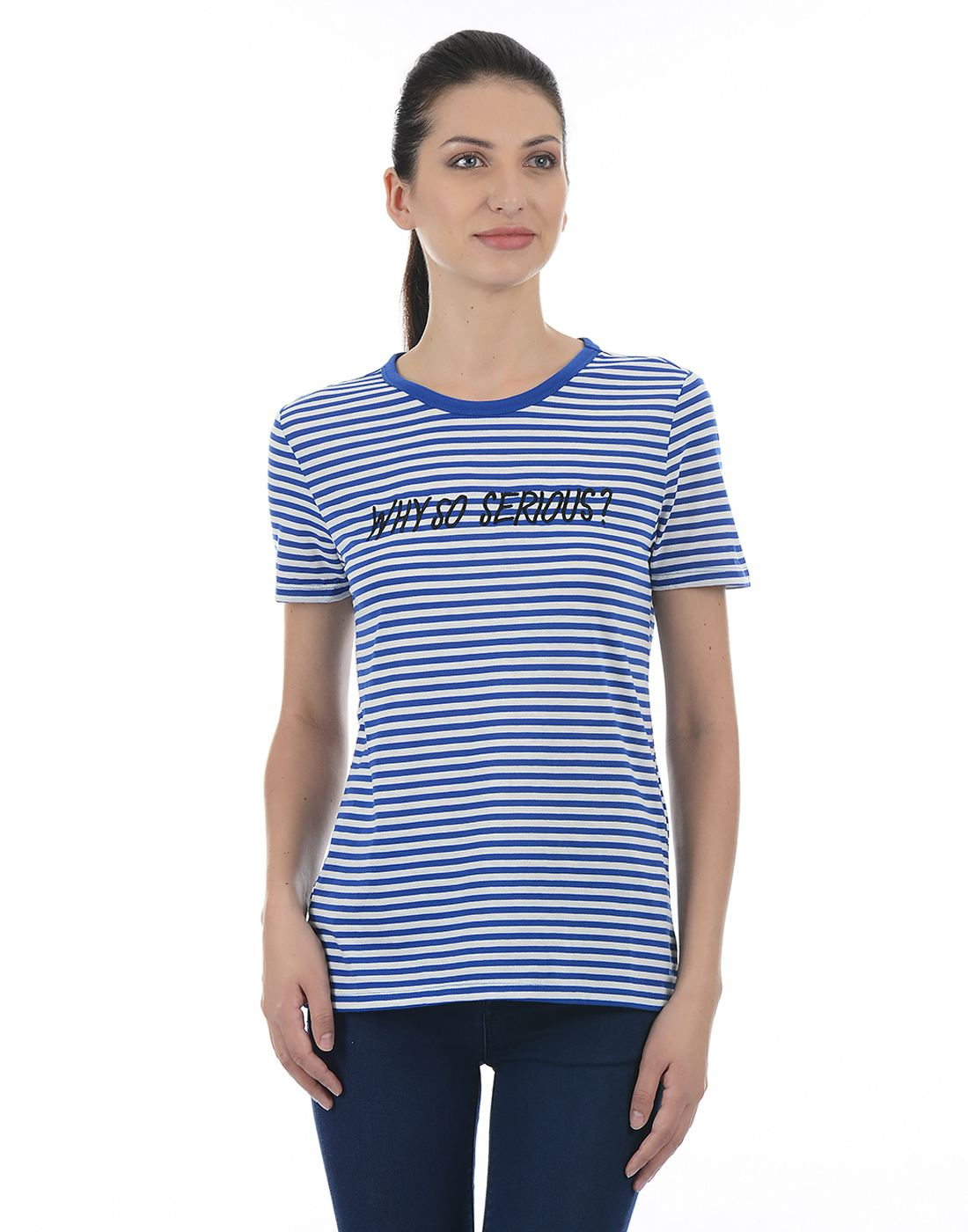 Only Women Casual Blue T-Shirt