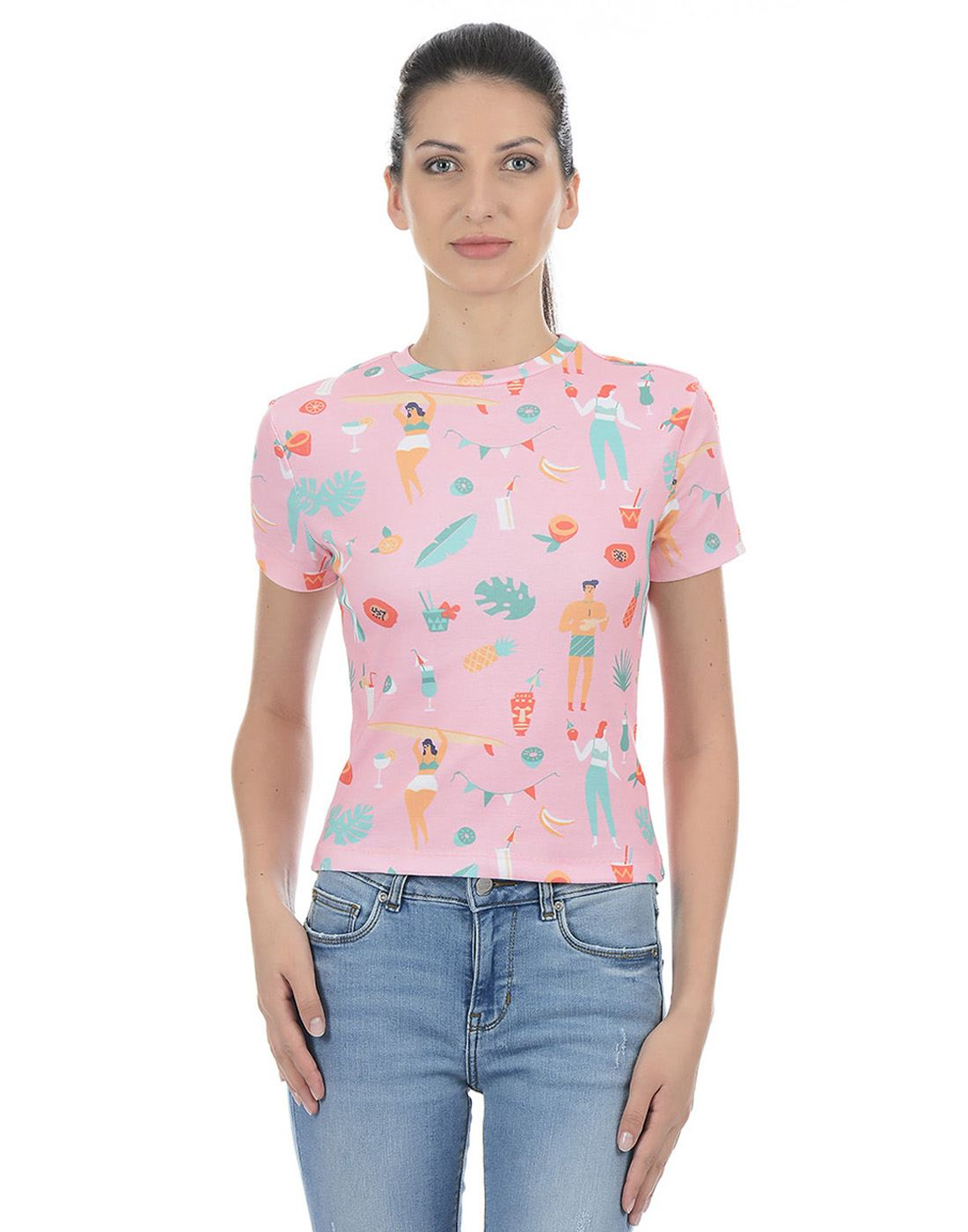Only Women Casual Multicolor T-Shirt