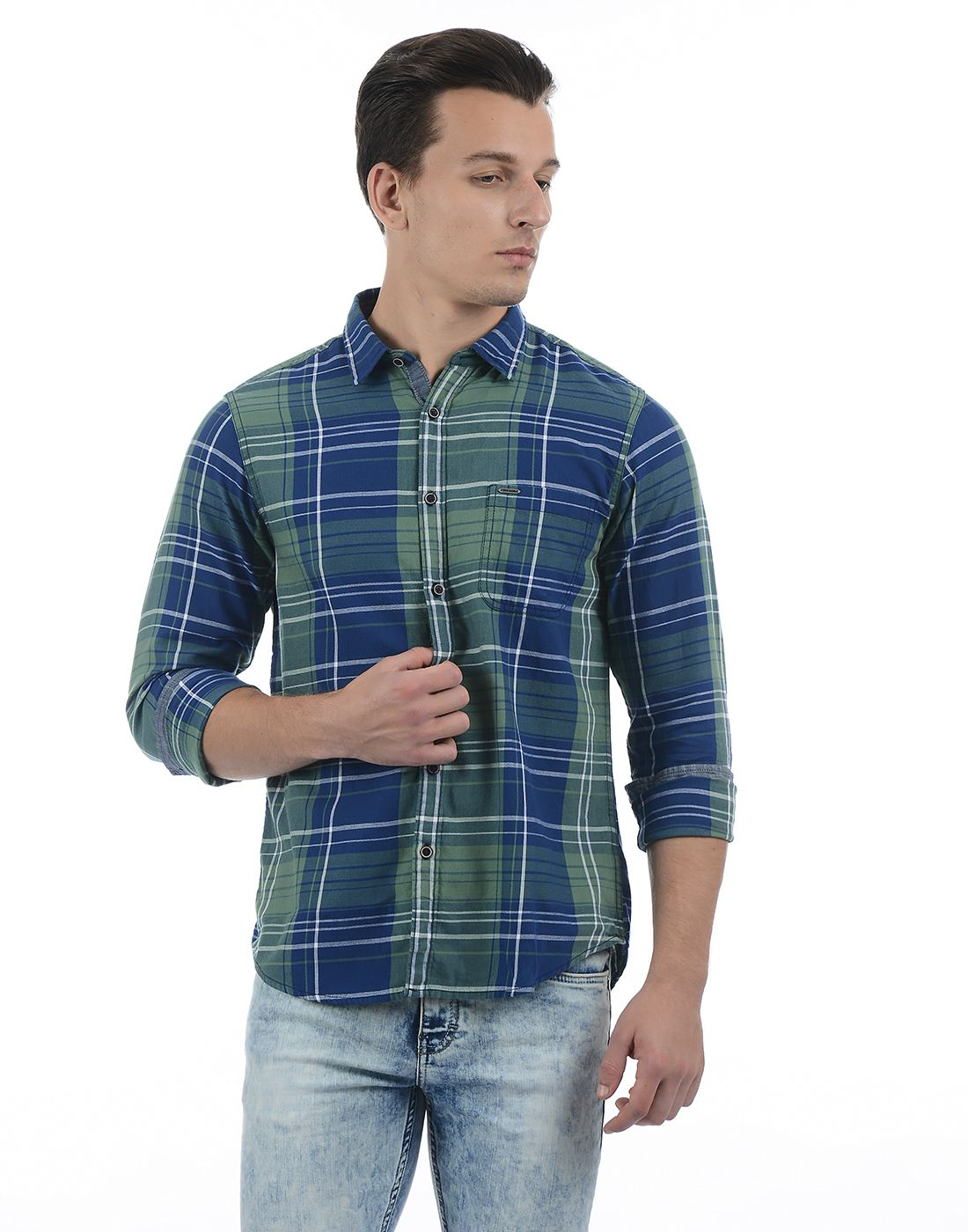 Pepe Jeans Men Checkered Green Shirt