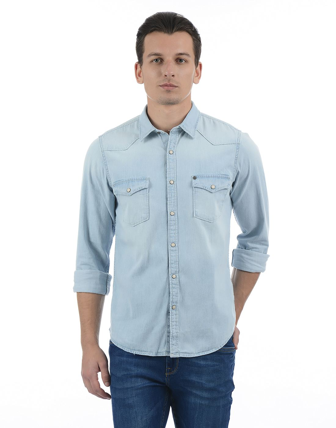Pepe Jeans Men Solid Blue Shirt