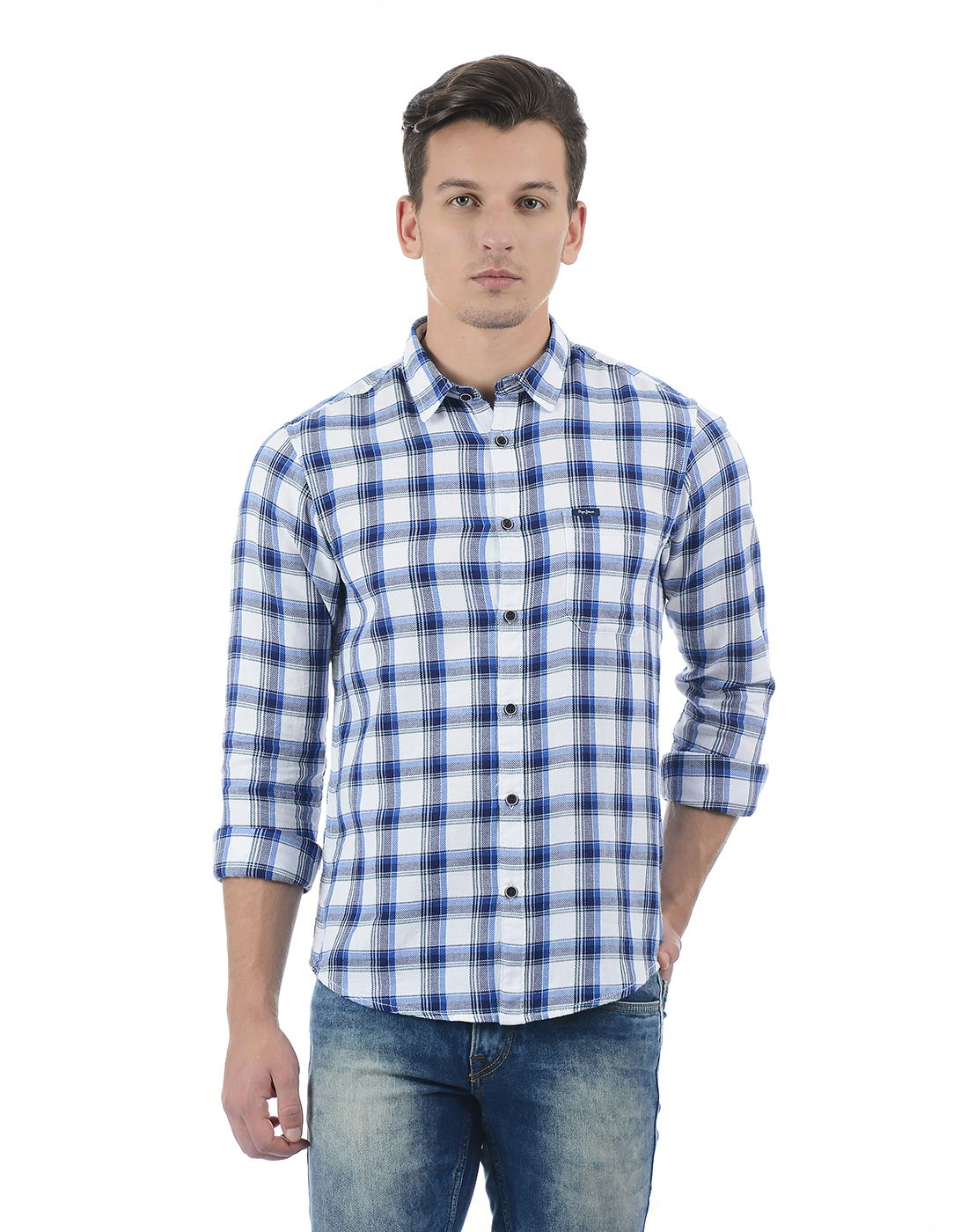 Pepe Jeans Men Checkered Blue Shirt