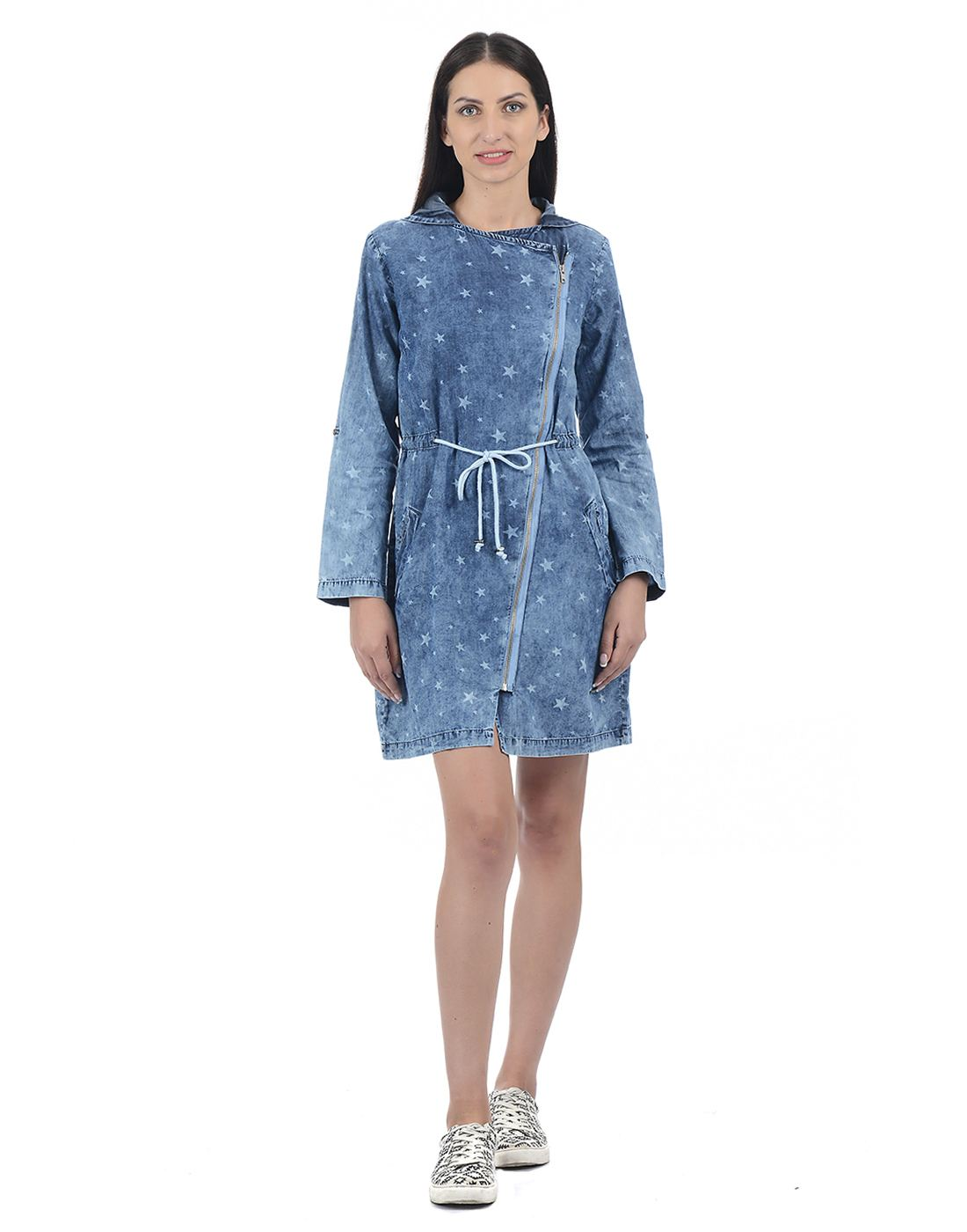 Pepe Jeans Women Geometric Hoodie Dress