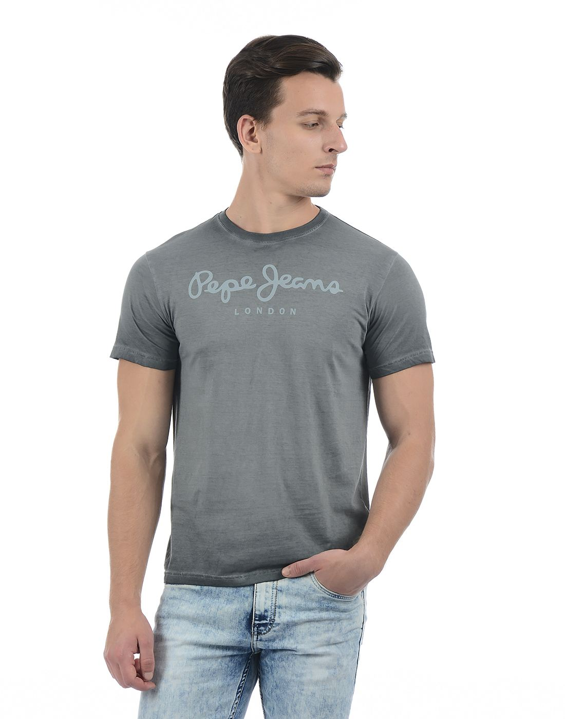 Pepe Jeans Men Graphic Print Grey T-Shirt